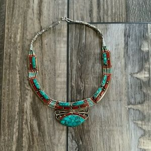 Tibetan Silver Necklace coral turquoise inlay
